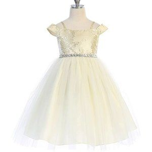 NWT Gold Rhinestone-accent Tulle off-shoulderDress